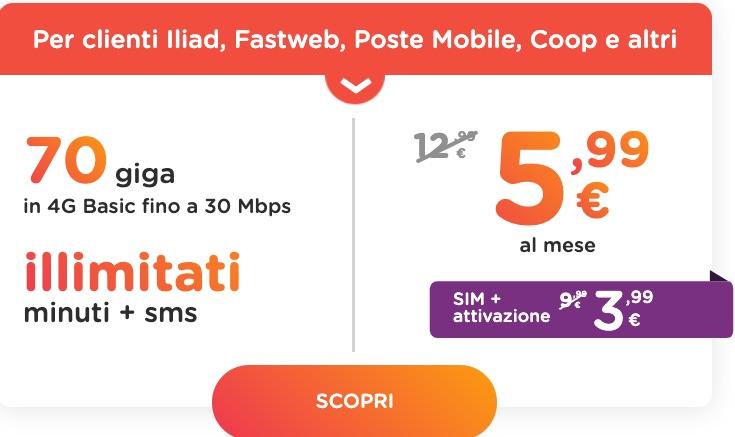 ho mobile offerta 70 giga